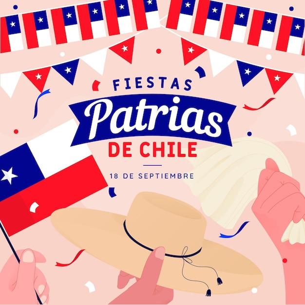 Fiestas patrias de chile concept Premium Vector