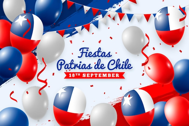Fiestas patrias de chile with balloons and flags Free Vector