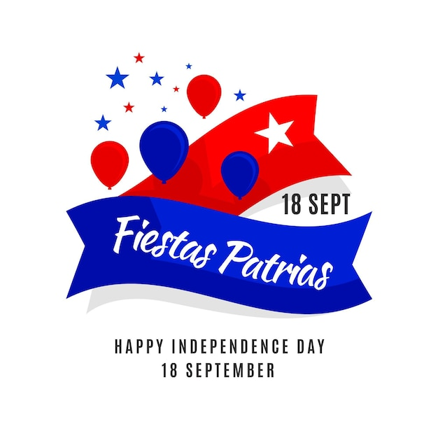 Fiestas patrias de chile with balloons Premium Vector