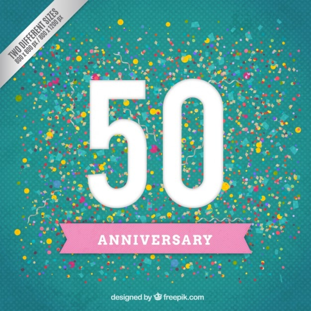 Fiftieh anniversary on a confetti background Free Vector