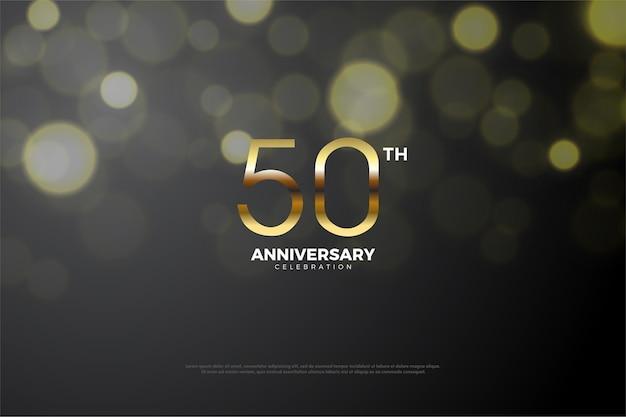 어두운 숫자와 금색 숫자가 혼합 된 50 주년 프리미엄 벡터