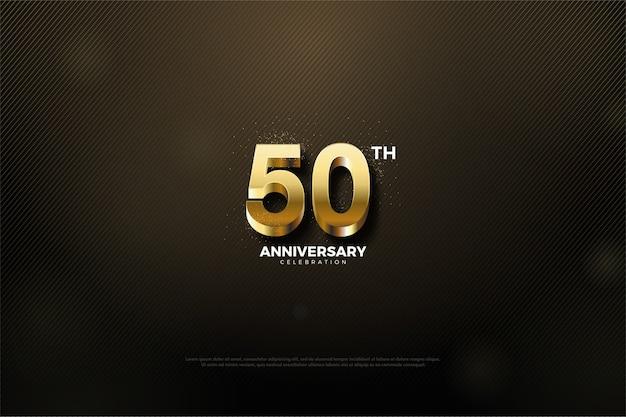 금색 숫자와 검은 색 배경으로 50 주년 프리미엄 벡터