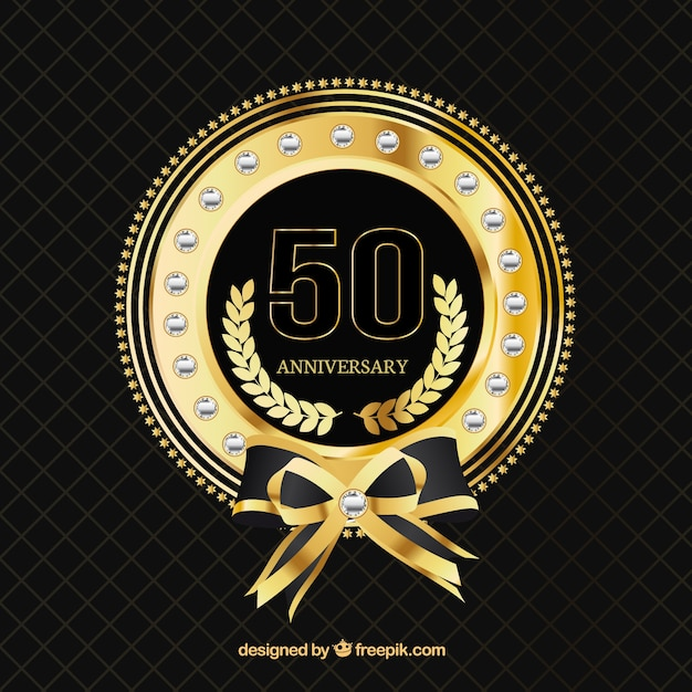 Fifty aniversary golden badge Free Vector
