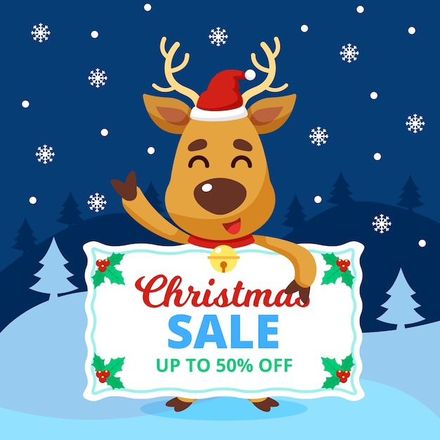 Fifty percent christmas sale in flat design Free Vector