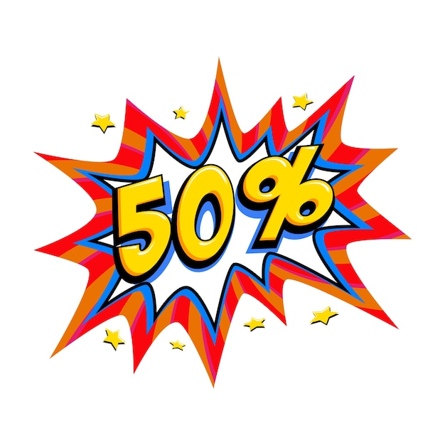 Fifty percent off Premium Vector