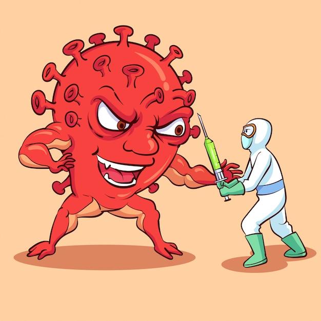 コロナウイルスモンスターと戦う Premiumベクター