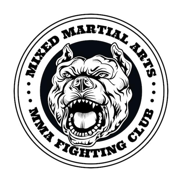 Логотип бойцовского клуба с злой собакой. логотип клуба кикбоксинга и борьбы с злой собакой. отдельные векторные иллюстрации Бесплатные векторы
