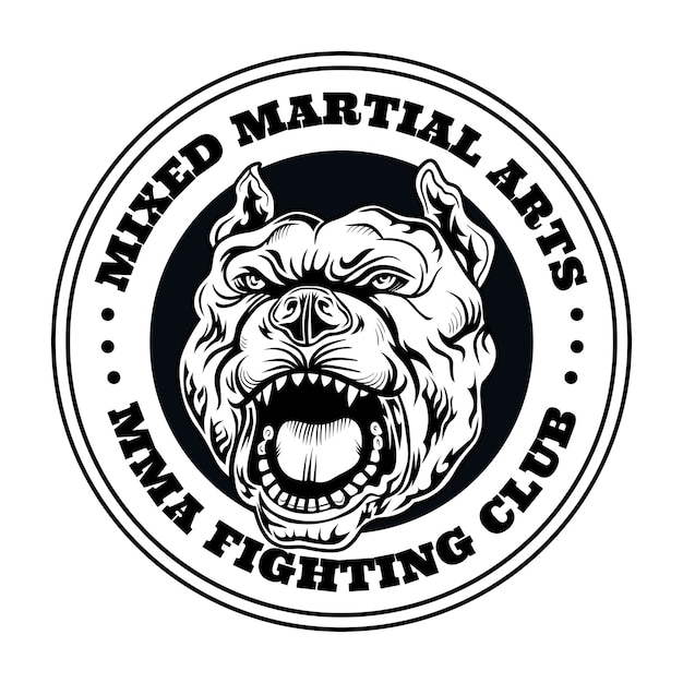 Fight club logo with angry dog. kickboxing and fighting club logo with angry dog. isolated vector illustration Free Vector