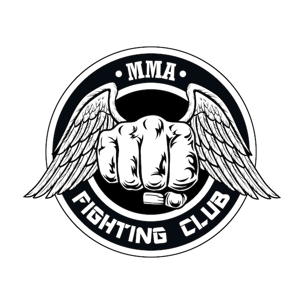 Fight club logo with fist and wings. boxing and fighting club logo with fist. Free Vector