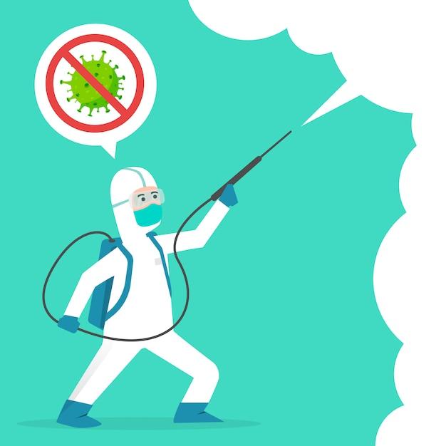 Covid-19コロナウイルス漫画イラスト概念と戦います。コロナウイルスを治します。人々はウイルスの概念を消毒剤と戦う。消毒洗浄スプレー。 2019-ncovの終わり。コロナウイルスを停止します。 Premiumベクター