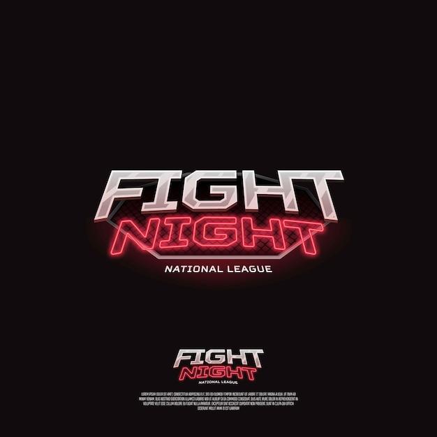 Fight night sign. modern neon sport logo  . Premium Vector
