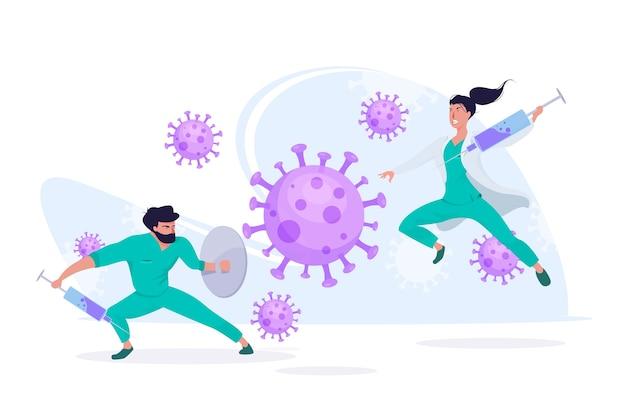 ウイルスの概念と戦う Premiumベクター