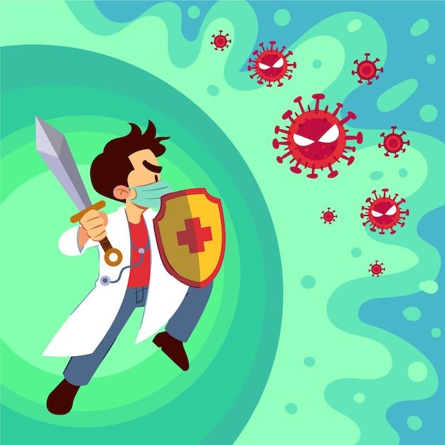 ウイルスの概念と戦う 無料ベクター