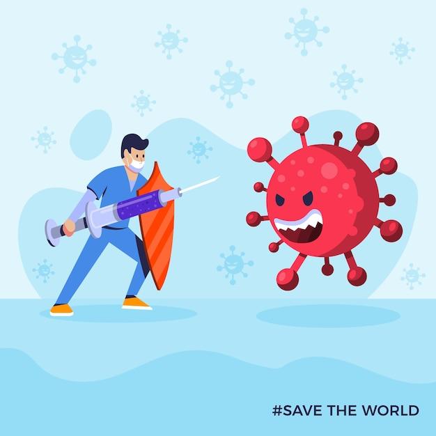 Боритесь с концепцией вируса Бесплатные векторы