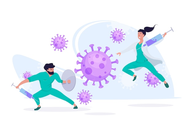 Fight the virus concept Free Vector