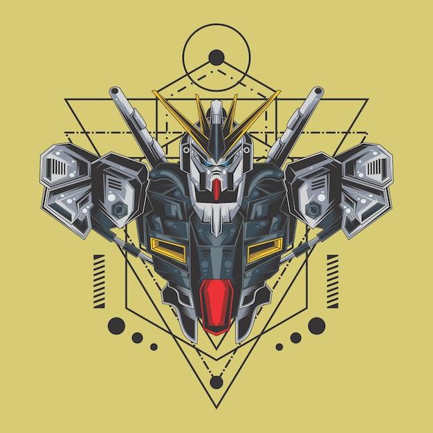 Fighter robot sacred geometry Premium Vector