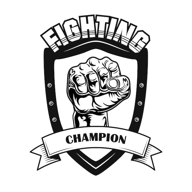 Fighting champion symbol vector illustration. fists on heraldry ir patch, text on ribbon Free Vector