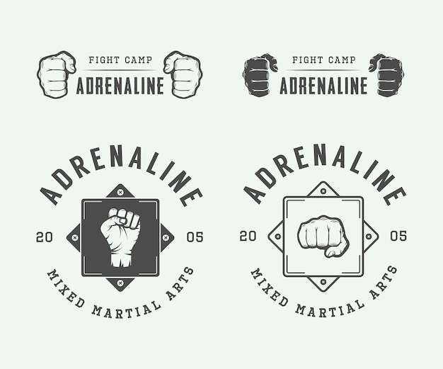 Fighting club logos, emblems Premium Vector