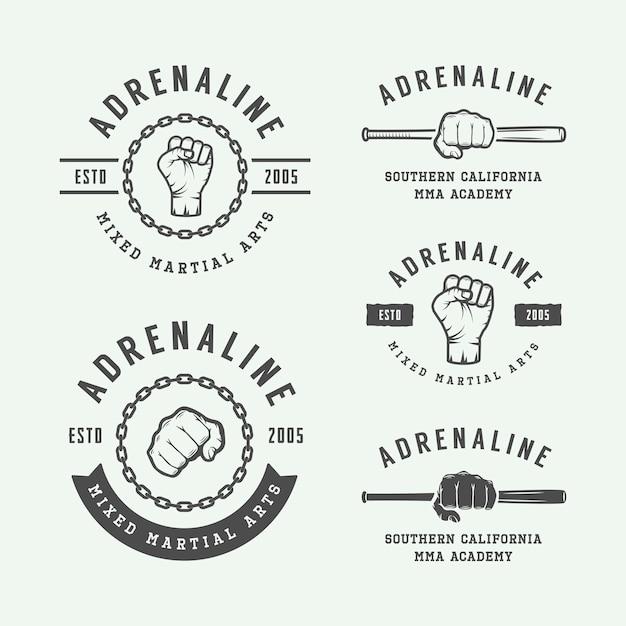 Fighting club logos, emblems Premium Vector