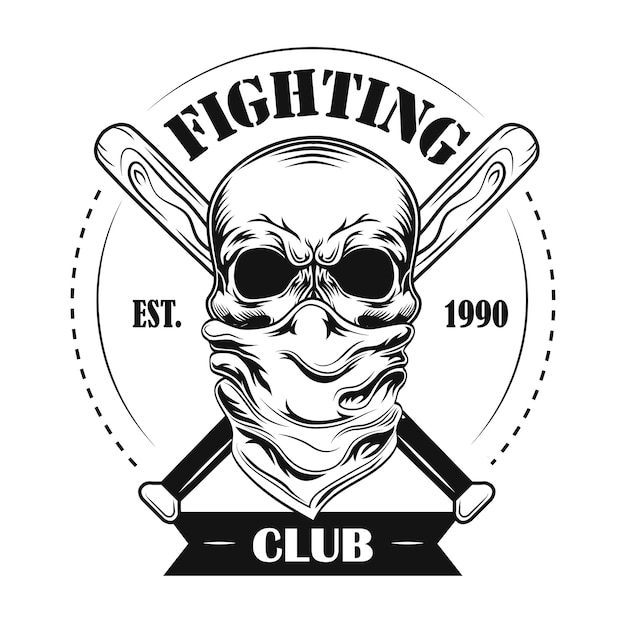 Боевой клуб член векторные иллюстрации. череп в бандане, скрещенные бейсбольные биты и текст Бесплатные векторы