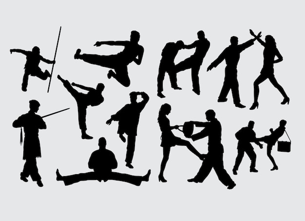 Fighting gesture martial art sport silhouette Premium Vector