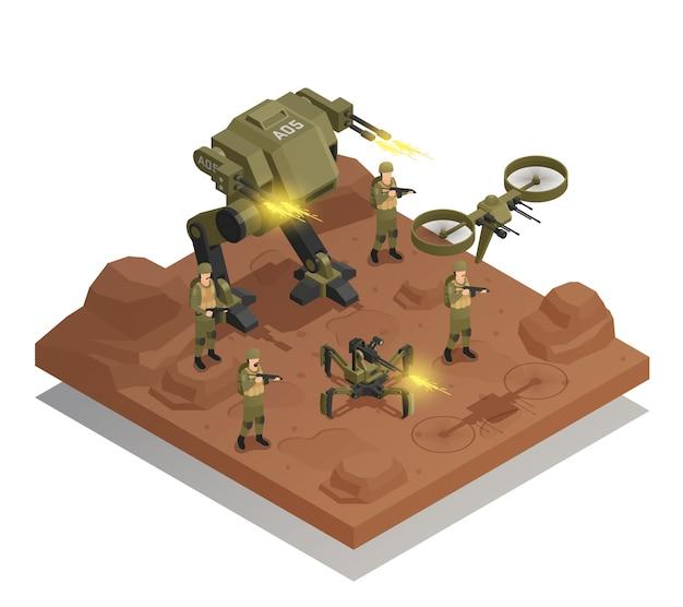 Combattimento robot composizione isometrica Vettore gratuito