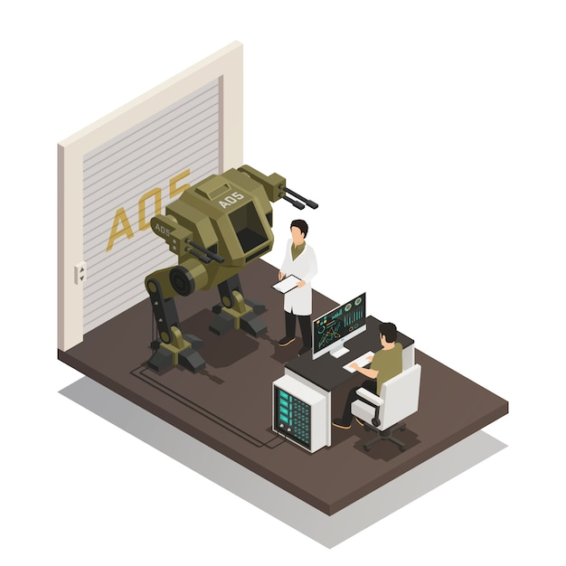 Fighting robots isometric design concept Free Vector