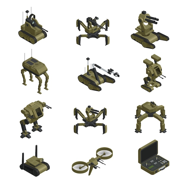 Боевые роботы изометрические иконы Бесплатные векторы