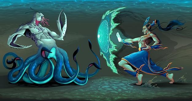 Fighting scene between elf and sea\ monster