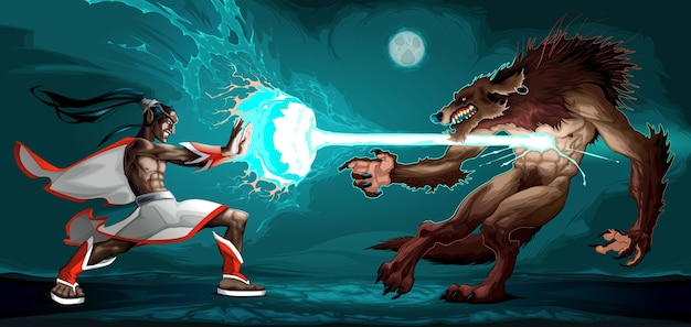 Fighting scene between elf and werewolf
