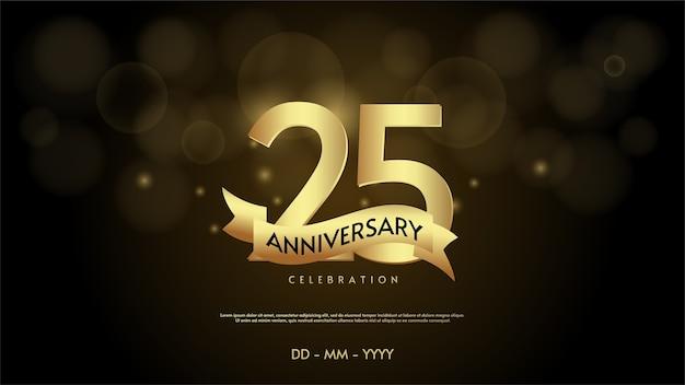 Цифра 25 для торжества. с мягкими золотыми цифрами и золотыми лентами. Premium векторы