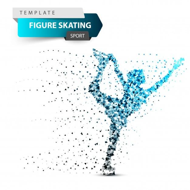 Figure scating - sun triangle illustration. Premium Vector