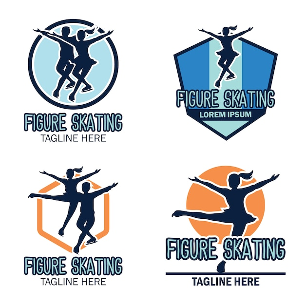 Figure skating logo Premium Vector