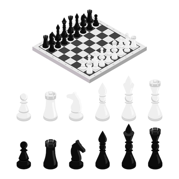 Figures on chessboard isometric illustration, black and white chess pieces set, king, queen, bishop, horse, rook and pawn, classic intellectual sport, leisure, tactical game, strategic thinking Premium Vector