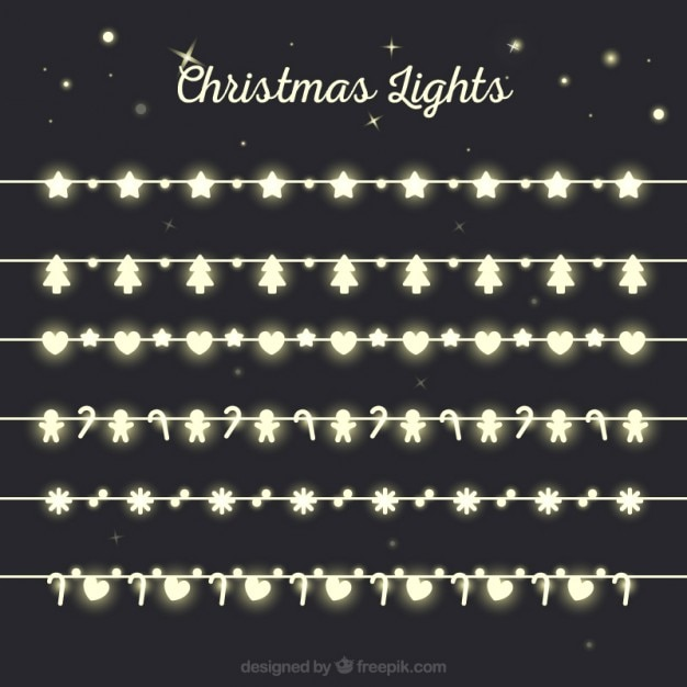 Figures christmas lights Free Vector