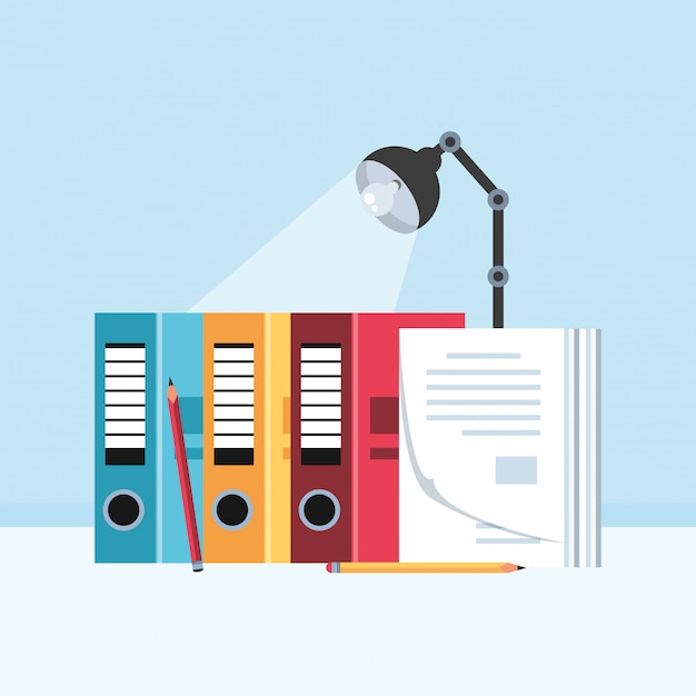 File books with lamp in the workplace Premium Vector