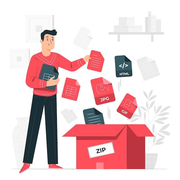 File bundle concept illustration Free Vector