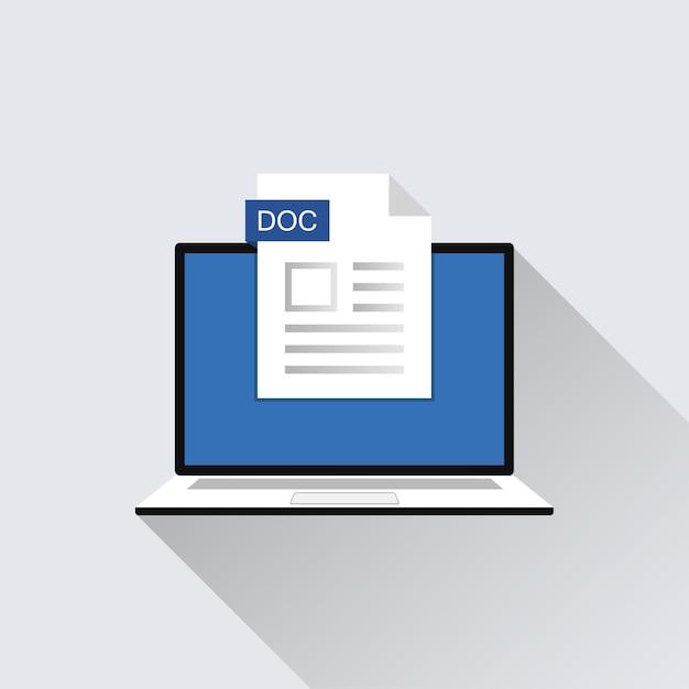 Значок файла doc на иллюстрации экрана ноутбука. расширение формата символа документа Premium векторы