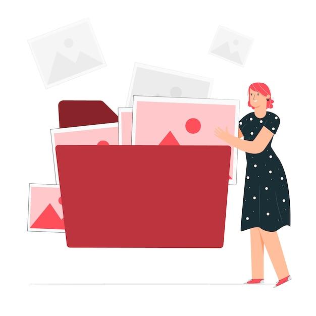 File folder concept illustration Free Vector