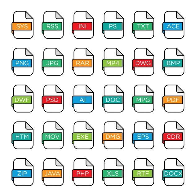 File formats icons Free Vector