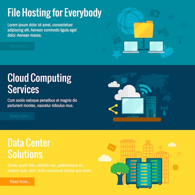 File hosting flat banners set Free Vector