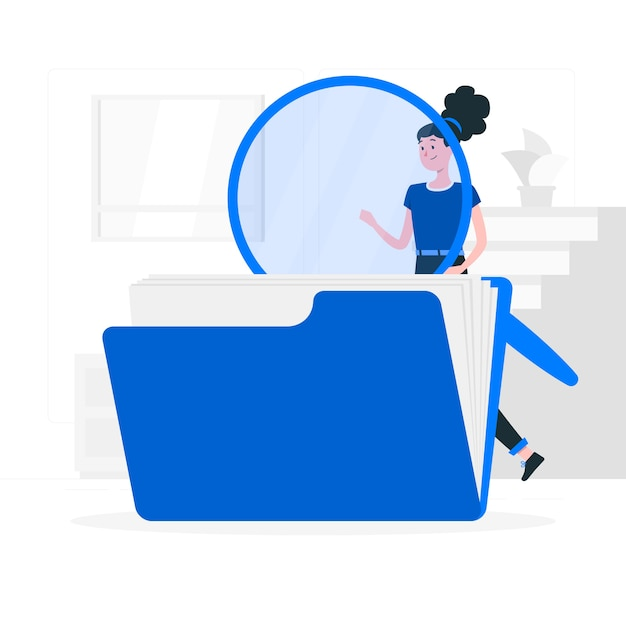 ファイル検索の概念図 無料ベクター