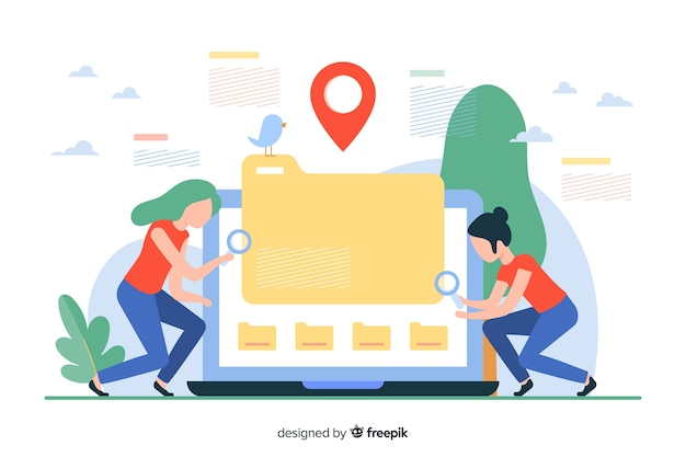 File searching concept illustration Free Vector