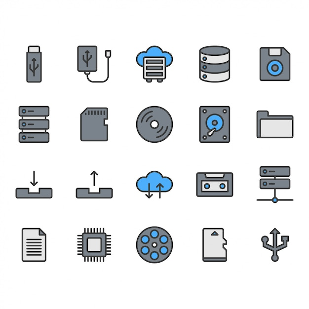 File storage icon  set Premium Vector