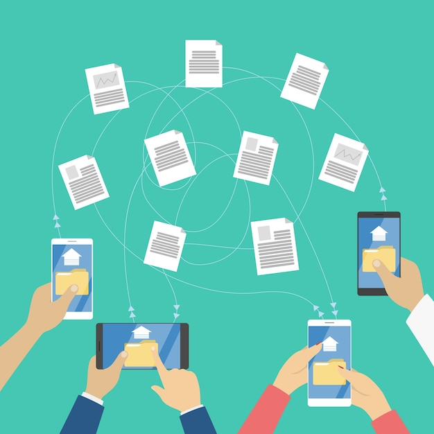 File transfer between the digital devices Premium Vector