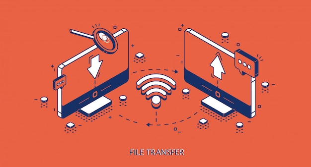 File transfer isometric banner, remote connection Free Vector
