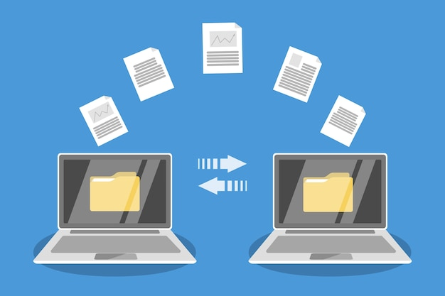 File transfer between laptop computers. copy files, exchange data and document transfer through internet. modern technology concept.   illustration Premium Vector