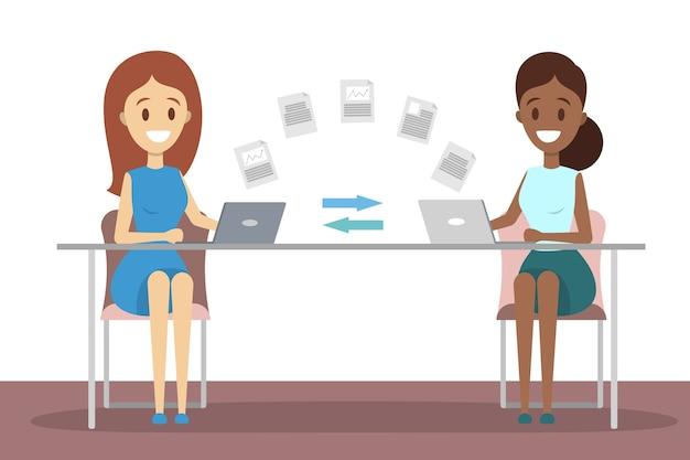 File transfer between laptop computers Premium Vector