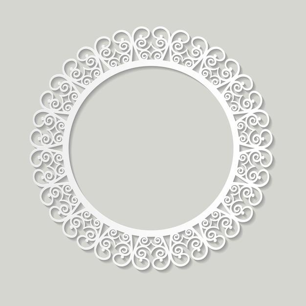 Filigree frame paper cut out. baroque vintage design. Premium Vector