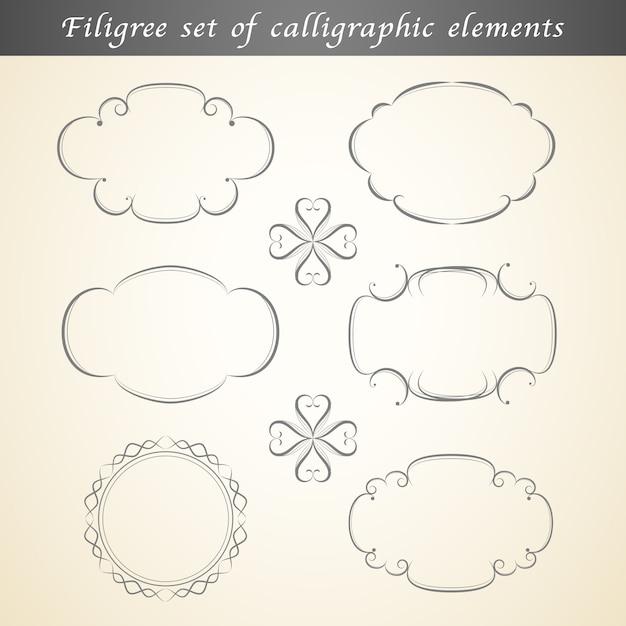 カリグラフィ要素のフィリグリーセットは、ビンテージデザインを飾ります。 Premiumベクター